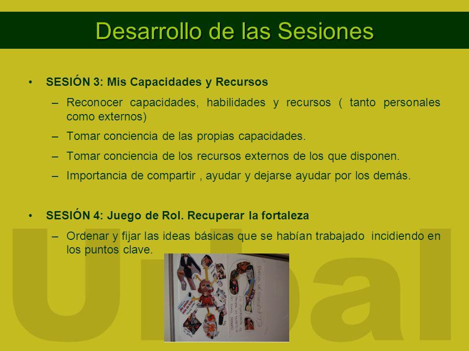 Desarrollo de las Sesiones SESIÓN 3: Mis Capacidades y Recursos –Reconocer capacidades, habilidades y recursos ( tanto personales como externos) –Tomar conciencia de las propias capacidades.