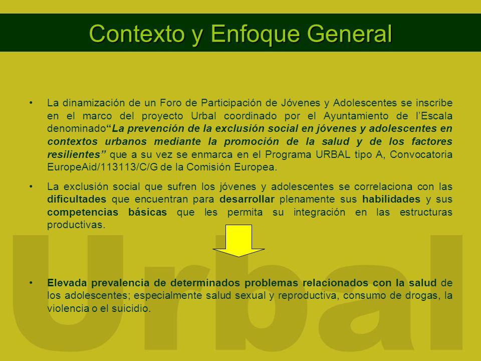 Contexto y Enfoque General La dinamización de un Foro de Participación de Jóvenes y Adolescentes se inscribe en el marco del proyecto Urbal coordinado por el Ayuntamiento de lEscala denominadoLa prevención de la exclusión social en jóvenes y adolescentes en contextos urbanos mediante la promoción de la salud y de los factores resilientes que a su vez se enmarca en el Programa URBAL tipo A, Convocatoria EuropeAid/113113/C/G de la Comisión Europea.