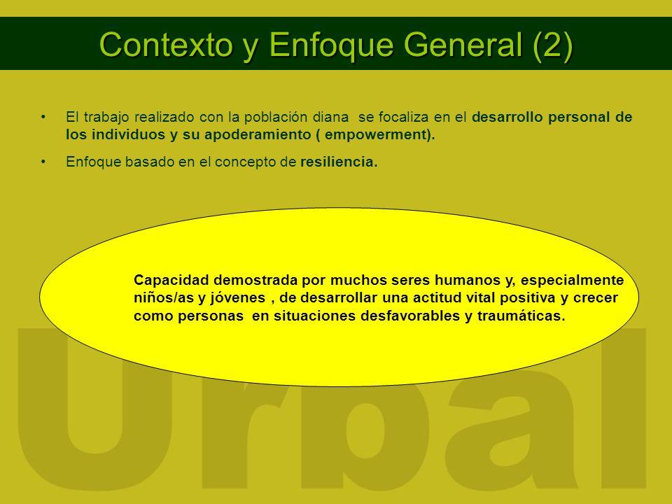 Contexto y Enfoque General (2) El trabajo realizado con la población diana se focaliza en el desarrollo personal de los individuos y su apoderamiento ( empowerment).