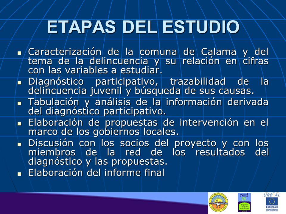 ETAPAS DEL ESTUDIO Caracterización de la comuna de Calama y del tema de la delincuencia y su relación en cifras con las variables a estudiar. Caracter
