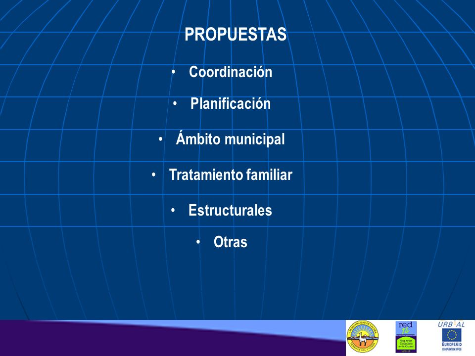 PROPUESTAS Coordinación Planificación Ámbito municipal Tratamiento familiar Estructurales Otras