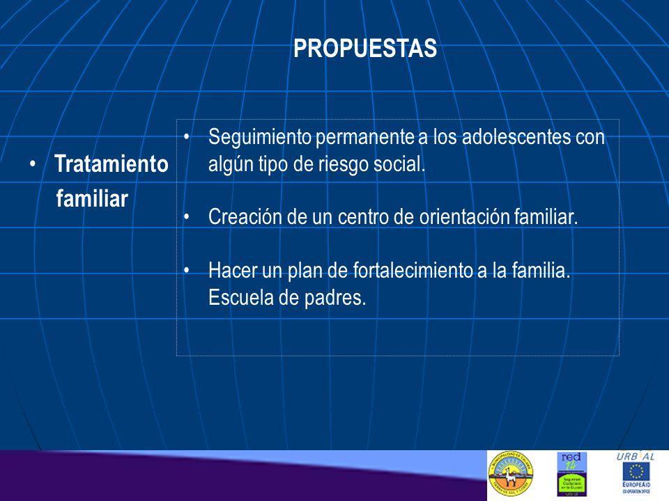 PROPUESTAS Seguimiento permanente a los adolescentes con algún tipo de riesgo social. Creación de un centro de orientación familiar. Hacer un plan de