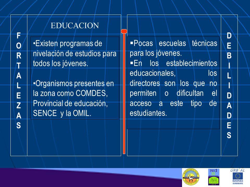 FORTALEZASFORTALEZAS DEBILIDADESDEBILIDADES EDUCACION Existen programas de nivelación de estudios para todos los jóvenes. Organismos presentes en la z