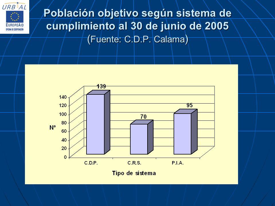 Población objetivo según sistema de cumplimiento al 30 de junio de 2005 ( Fuente: C.D.P. Calama )