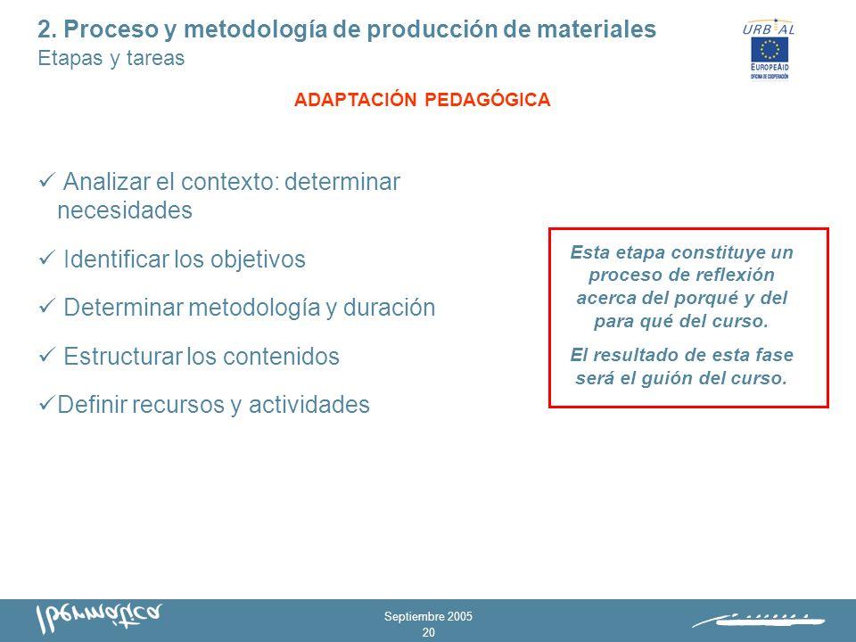 Septiembre 2005 19 1. Adaptación pedagógica 2. Transformación del material 3.