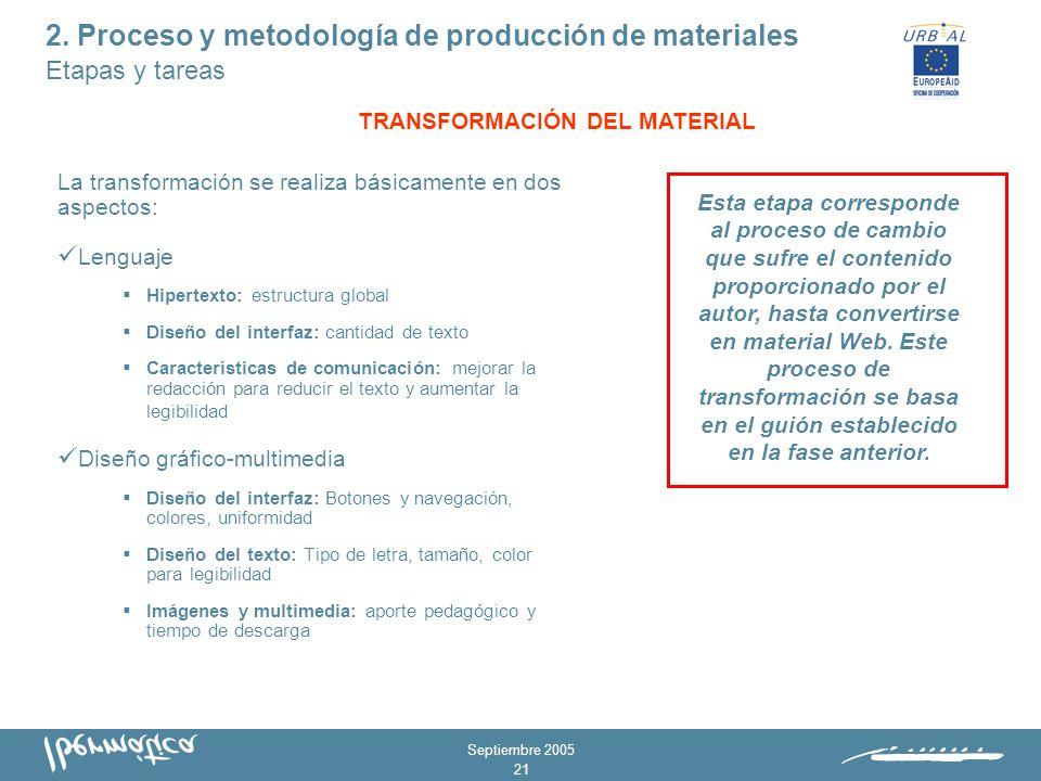 Septiembre 2005 20 Analizar el contexto: determinar necesidades Identificar los objetivos Determinar metodología y duración Estructurar los contenidos Definir recursos y actividades Esta etapa constituye un proceso de reflexión acerca del porqué y del para qué del curso.