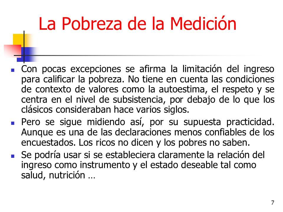 7 La Pobreza de la Medición Con pocas excepciones se afirma la limitación del ingreso para calificar la pobreza.