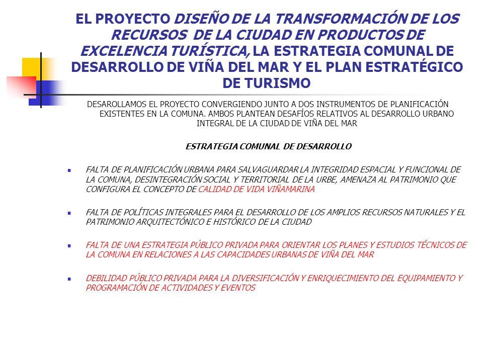 EL PROYECTO DISEÑO DE LA TRANSFORMACIÓN DE LOS RECURSOS DE LA CIUDAD EN PRODUCTOS DE EXCELENCIA TURÍSTICA, LA ESTRATEGIA COMUNAL DE DESARROLLO DE VIÑA DEL MAR Y EL PLAN ESTRATÉGICO DE TURISMO LA SITUACIÓN DEL DESARROLLO URBANO PLANTEA AMPLIOS DESAFÍOS PARA EL MANEJO DE LOS RECURSOS TURÍSTICOS DE LA COMUNA, ESTOS TAMBIÉN SE PRESENTAN EN EL CONTEXTO DE UNA PROBLEMÁTICA URBANA GENERAL E INTEGRADA FORTALEZAS Y DEBILIDADES DE LA OFERTA DE ATRACTIVOS TURÍSTICOS DE VIÑA DEL MAR AMPLIA DIVERSIFICACIÓN DE LOS ATRACTIVOS TURÍSTICOS DE LA COMUNA TANTO CULTURALES COMO NATURALES FALTA DE EQUIPAMIENTO ADECUADO PARA VALORAR TODAS LAS POTENCIALIDADES DE LOS ATRACTIVOS TURÍSTICOS DE LA COMUNA, DESARROLLO AISLADO DEL BORDE COSTERO DE TAL FORMA, LOS DIAGNÓSTICOS Y LOS LINEAMIENTOS ESTRATÉGICOS DE LOS INSTRUMENTOS DE PLANIFICACIÓN VIGENTES EN LA COMUNA PARA EL DESARROLLO URBANO Y PARA LA ACTIVIDAD ECONÓMICA DEL TURISMO, SE VINCULAN AL PROYECTO DE LA RED URBAL EN LA MEDIDA EN QUE CONSIDERAMOS A LA CIUDAD DE VIÑA DEL MAR COMO UN MUNICIPIO TURÍSTICO QUE PUEDE SER POTENCIADO COMO MUNICIPIO DE EXCELENCIA TURÍSTICA