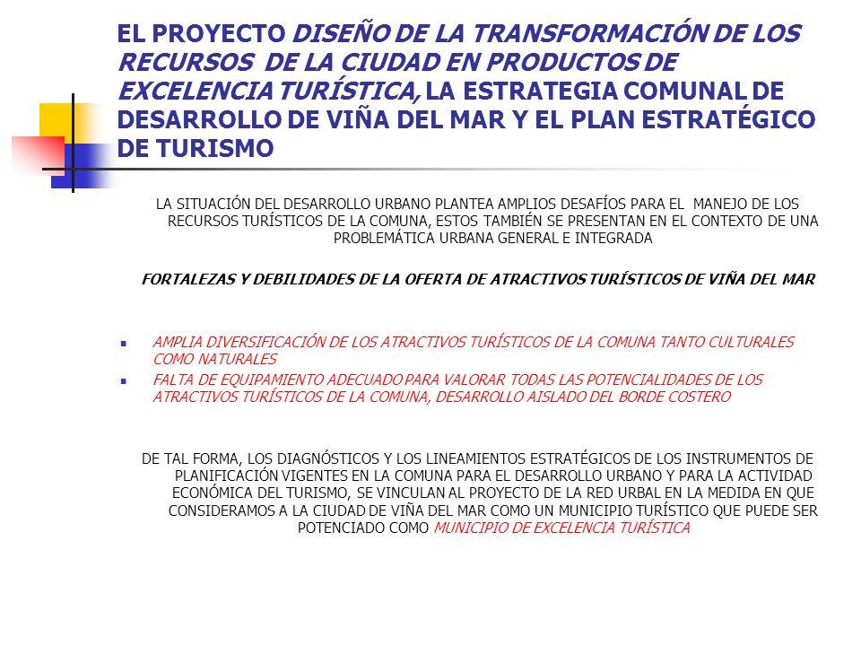 EL PROYECTO DISEÑO DE LA TRANSFORMACIÓN DE LOS RECURSOS DE LA CIUDAD EN PRODUCTOS DE EXCELENCIA TURÍSTICA, LA ESTRATEGIA COMUNAL DE DESARROLLO DE VIÑA DEL MAR Y EL PLAN ESTRATÉGICO DE TURISMO EN DIRECCIÓN AL PROYECTO Y EN CONSIDERACIÓN A LAS PROBLEMÁTICAS URBANAS DEL MUNICPIO TURÍSTICO DE VIÑA DEL MAR SE ANALIZARON MATERIAS RELACIONADAS A LA COMUNA TALES COMO: ACCESIBILIDAD; LA CONFIGURACIÓN VIAL DE LA COMUNA CONTRIBUYE AL DETERIORO DE LA IMAGEN DE CALIDAD DE VIDA DE LA CIUDAD Y AL DESARROLLO INORGÁNICO DEL TERRITORIO INFRAESTRUCTURA; EXISTE UNA ALTA INVERSIÓN EN IMPLEMENTACIÓN Y COBERTURA DE REDES, UN ELEVADO NIVEL EN SERVICIOS TURÍSTICOS GASTRONÓMICOS, Y UN IMPORTANTE VOLUMEN DE INFRAESTRUCTURA HOTELERA DE 2 A 4 ESTRELLAS, SIN EMBARGO EXISTE UNA PRESIÓN POR EL USO DE SUELO ENTRE LA ACTIVIDAD INMOBILIRARIA Y LA ACTIVIDAD TURÍSTICA Y ACTIVIDADES COMPLEMENTARIAS AMBIENTE; EXISTE UN SERIO DETERIORO DEL PAISAJE NATURAL Y ESCASA PROTECCIÓN DE LA ARQUITECTURA TRADICIONAL, ELEVADA CONTAMINACIÓN ACÚSTICA