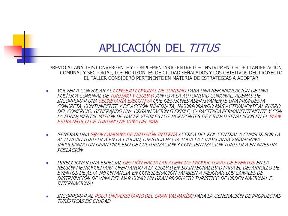 APLICACIÓN DEL TITUS PREVIO AL ANÁLISIS CONVERGENTE Y COMPLEMENTARIO ENTRE LOS INSTRUMENTOS DE PLANIFICACIÓN COMUNAL Y SECTORIAL, LOS HORIZONTES DE CI