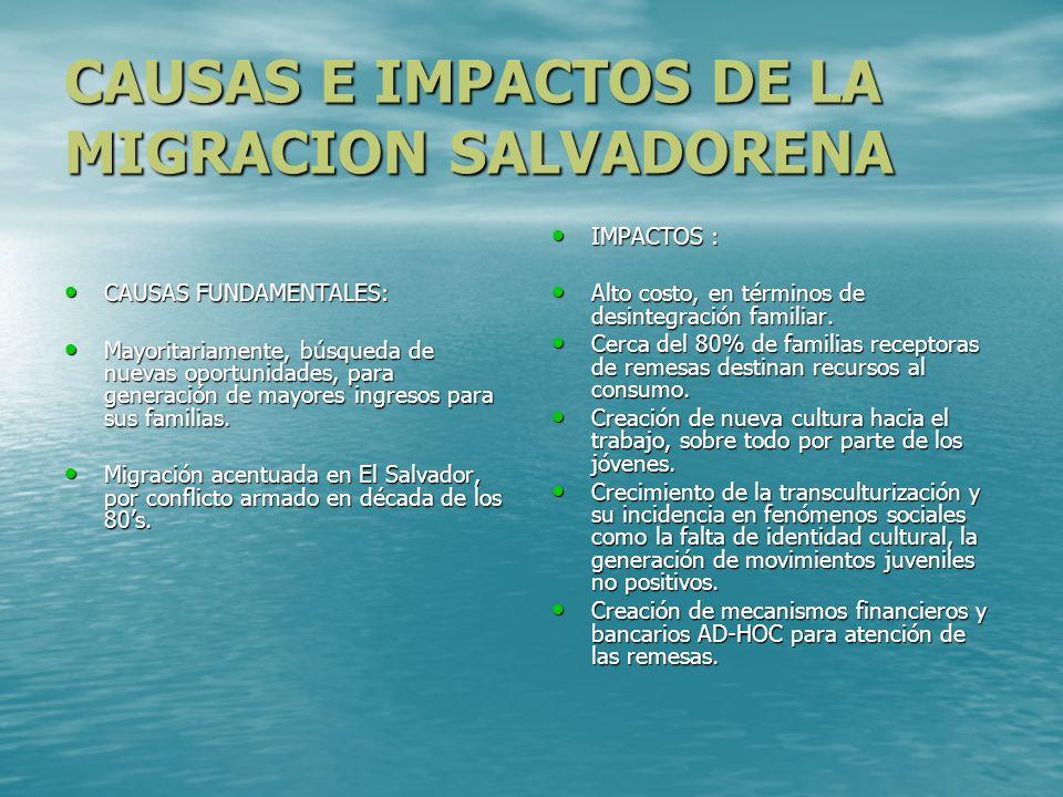 . CAUSAS E IMPACTOS DE LA MIGRACION SALVADORENA CAUSAS FUNDAMENTALES: CAUSAS FUNDAMENTALES: Mayoritariamente, búsqueda de nuevas oportunidades, para g
