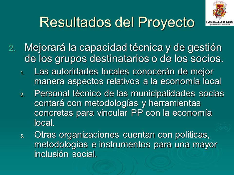 Resultados del Proyecto 2. Mejorará la capacidad técnica y de gestión de los grupos destinatarios o de los socios. 1. Las autoridades locales conocerá