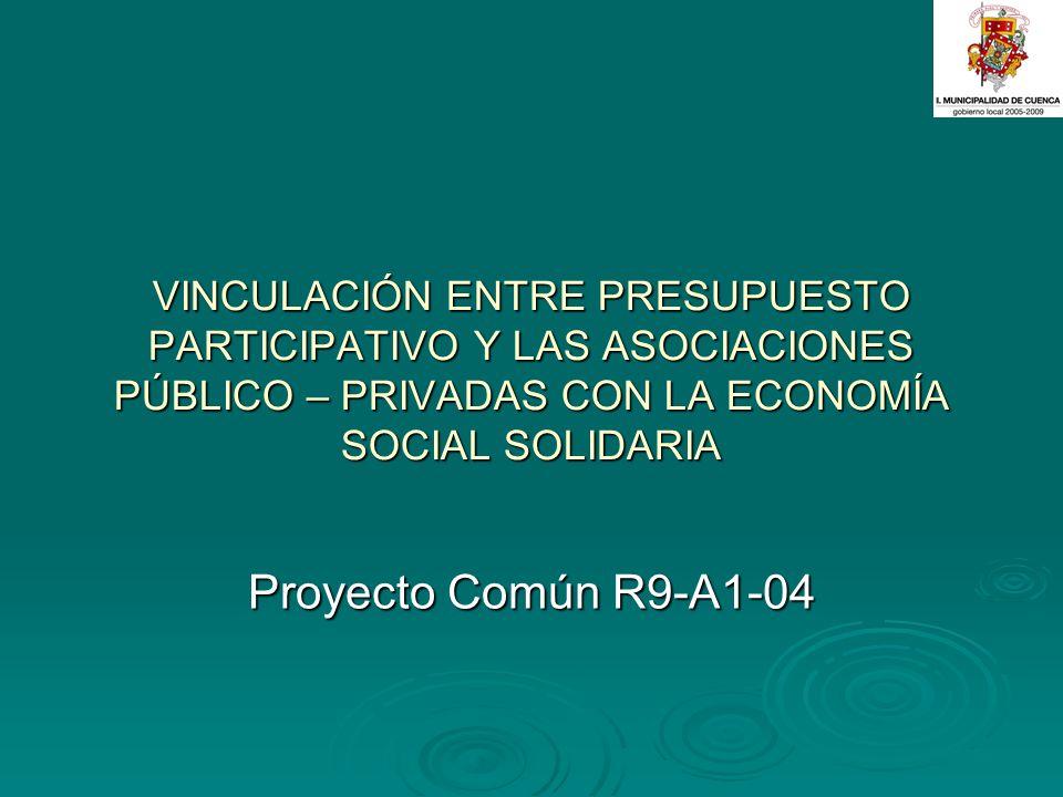 VINCULACIÓN ENTRE PRESUPUESTO PARTICIPATIVO Y LAS ASOCIACIONES PÚBLICO – PRIVADAS CON LA ECONOMÍA SOCIAL SOLIDARIA Proyecto Común R9-A1-04