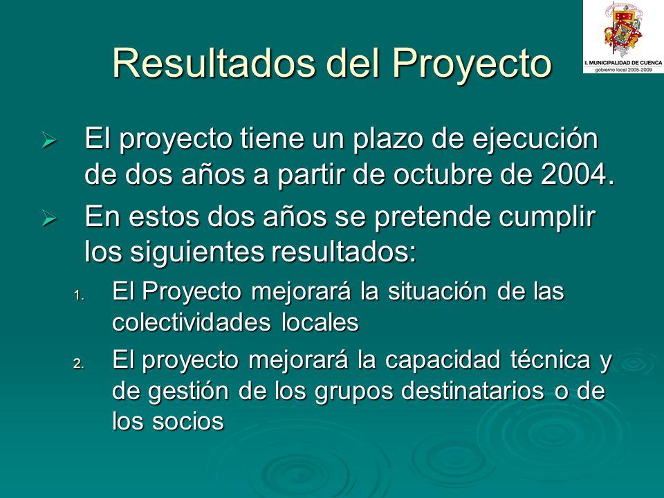Resultados del Proyecto El proyecto tiene un plazo de ejecución de dos años a partir de octubre de 2004. El proyecto tiene un plazo de ejecución de do