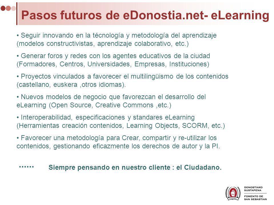 Pasos futuros de eDonostia.net- eLearning Seguir innovando en la técnología y metodología del aprendizaje (modelos constructivistas, aprendizaje colab