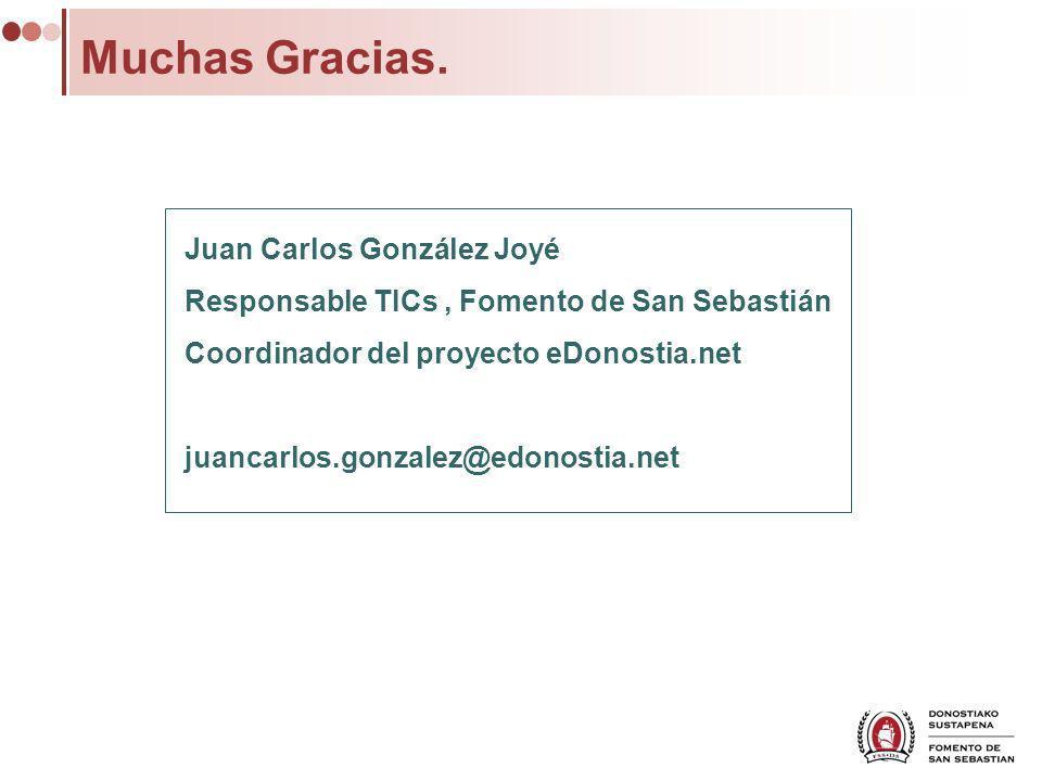 Muchas Gracias. Juan Carlos González Joyé Responsable TICs, Fomento de San Sebastián Coordinador del proyecto eDonostia.net juancarlos.gonzalez@edonos