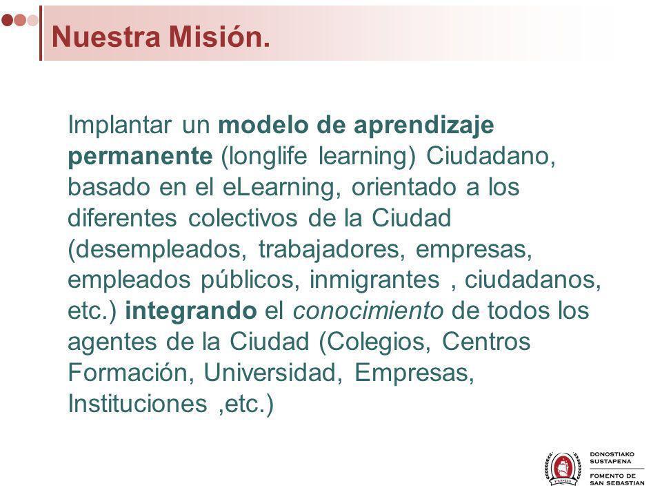 Nuestra Misión. Implantar un modelo de aprendizaje permanente (longlife learning) Ciudadano, basado en el eLearning, orientado a los diferentes colect