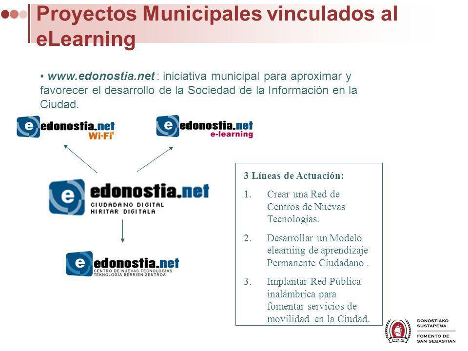 Proyectos Municipales vinculados al eLearning www.edonostia.net : iniciativa municipal para aproximar y favorecer el desarrollo de la Sociedad de la Información en la Ciudad.