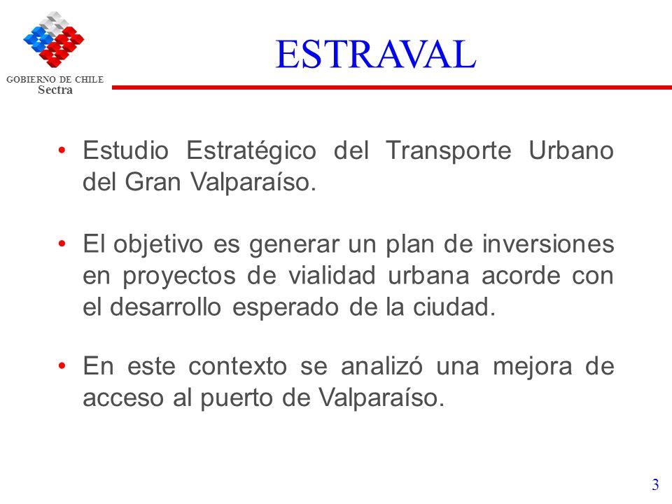 GOBIERNO DE CHILE Sectra 3 ESTRAVAL Estudio Estratégico del Transporte Urbano del Gran Valparaíso. El objetivo es generar un plan de inversiones en pr