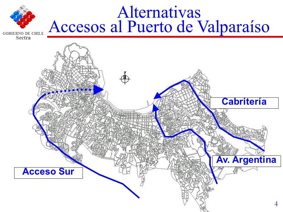 GOBIERNO DE CHILE Sectra 4 Alternativas Accesos al Puerto de Valparaíso Av. Argentina Acceso Sur Cabritería