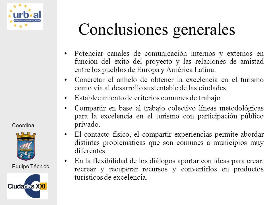 Coordina Equipo Técnico Conclusiones generales Potenciar canales de comunicación internos y externos en función del éxito del proyecto y las relacione