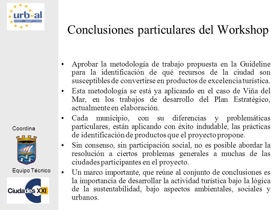 Coordina Equipo Técnico Conclusiones particulares del Workshop Aprobar la metodología de trabajo propuesta en la Guideline para la identificación de q