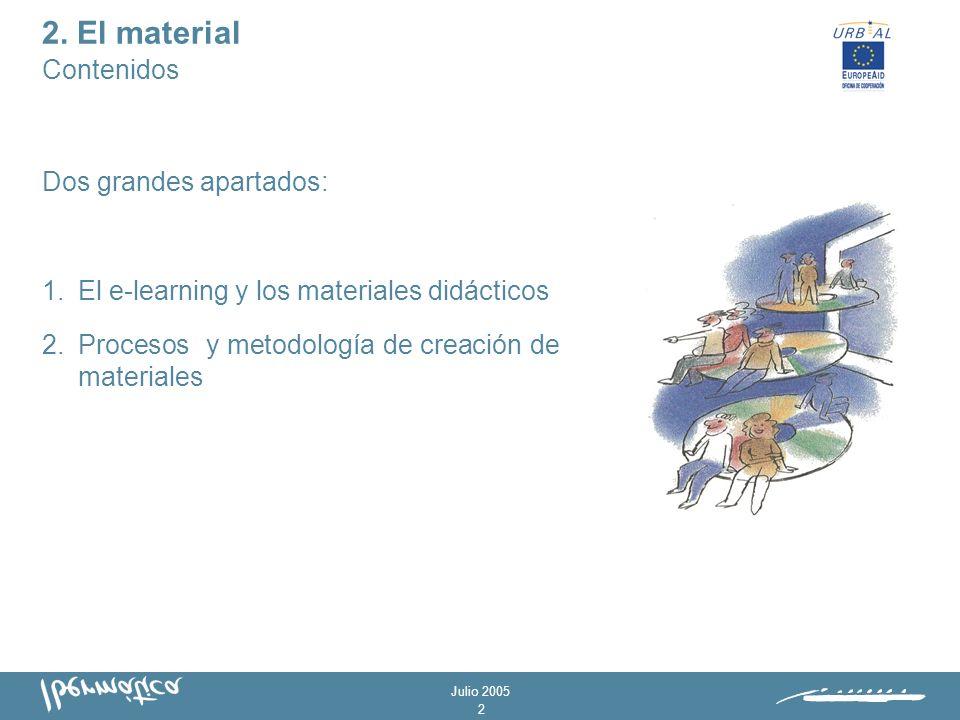 Julio 2005 1 - Proponer las mejores prácticas de creación - Metodología abierta y adaptable -Surgen de la experiencia -Propuesta de actividades 1.