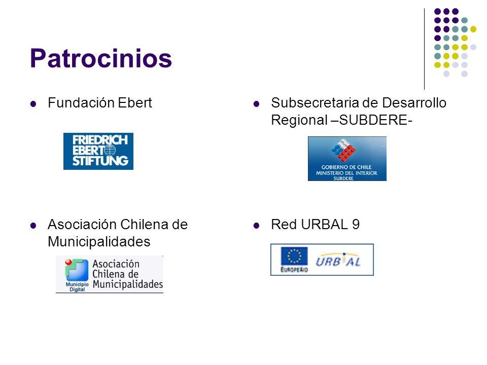 Patrocinios Fundación Ebert Subsecretaria de Desarrollo Regional –SUBDERE- Asociación Chilena de Municipalidades Red URBAL 9