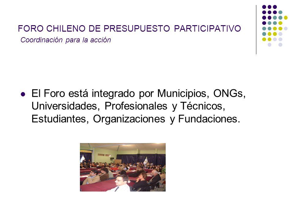 FORO CHILENO DE PRESUPUESTO PARTICIPATIVO Coordinación para la acción El Foro está integrado por Municipios, ONGs, Universidades, Profesionales y Técn