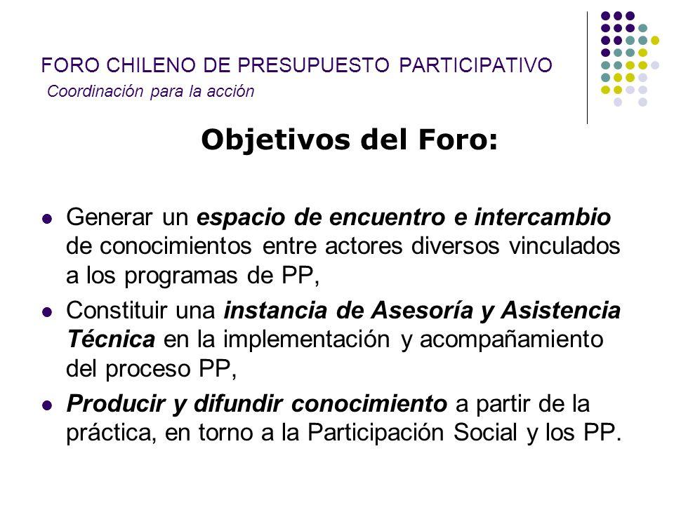 FORO CHILENO DE PRESUPUESTO PARTICIPATIVO Coordinación para la acción Objetivos del Foro: Generar un espacio de encuentro e intercambio de conocimient