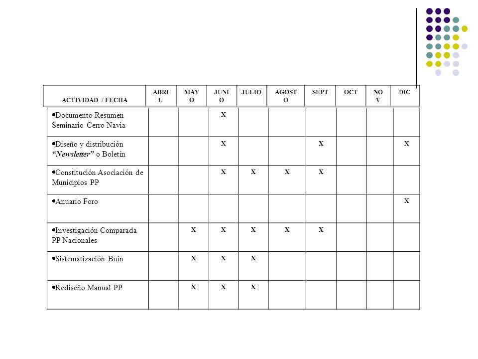 Documento Resumen Seminario Cerro Navia X Diseño y distribución Newsletter o Boletín XXX Constitución Asociación de Municipios PP XXXX Anuario Foro X