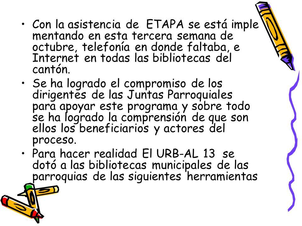 Con la asistencia del Ingeniero Santiago López Gerente General de ETAPA se está implementan do en esta tercera semana de octubre, telefonía en donde faltaba, e Internet en todas las bibliotecas del cantón.