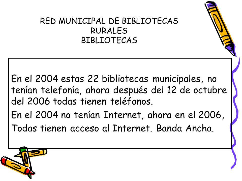 RED MUNICIPAL DE BIBLIOTECAS RURALES BIBLIOTECAS En el 2004 estas 22 bibliotecas municipales, no tenían telefonía, ahora después del 12 de octubre del 2006 todas tienen teléfonos.