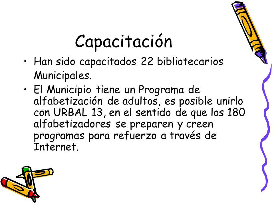 Capacitación Han sido capacitados 22 bibliotecarios Municipales.
