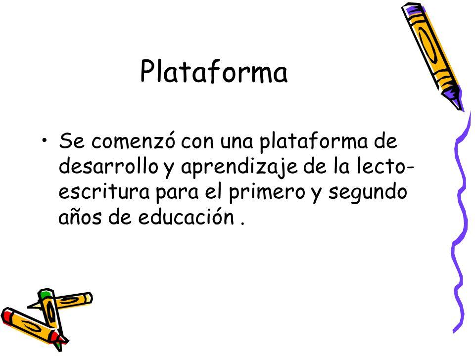 Plataforma Se comenzó con una plataforma de desarrollo y aprendizaje de la lecto- escritura para el primero y segundo años de educación.
