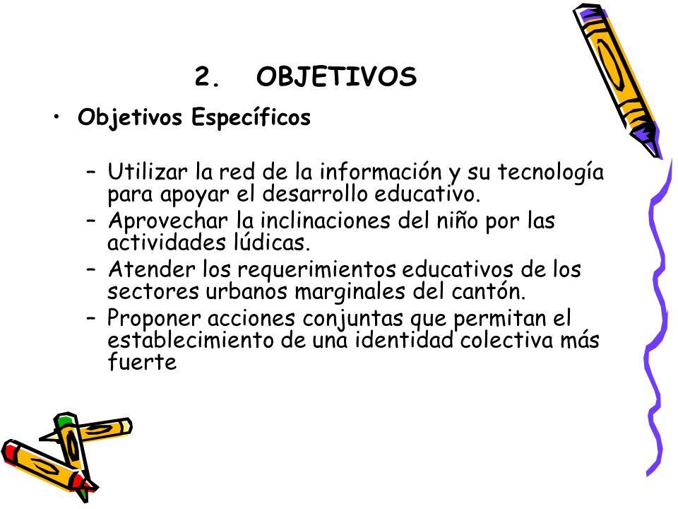 Objetivos Específicos –Utilizar la red de la información y su tecnología para apoyar el desarrollo educativo.