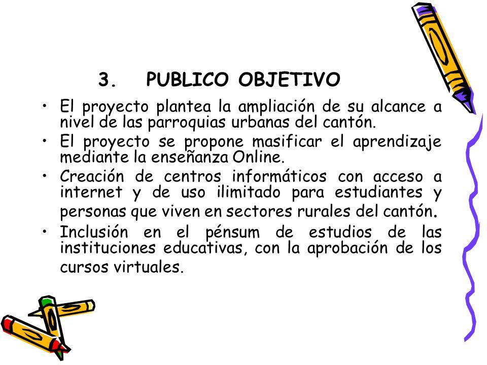 3.PUBLICO OBJETIVO El proyecto plantea la ampliación de su alcance a nivel de las parroquias urbanas del cantón.