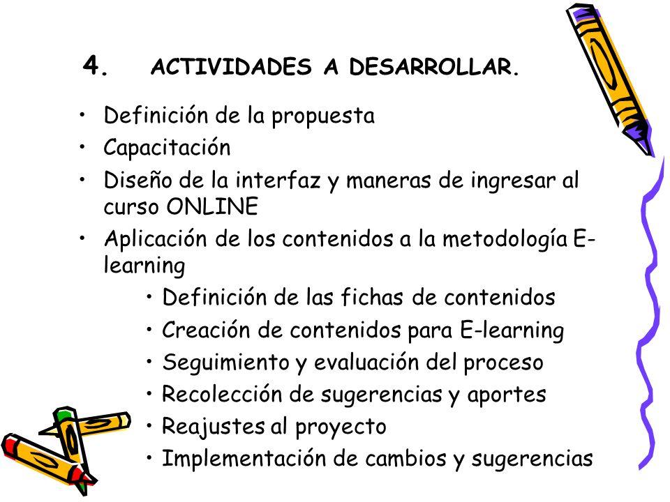 4. ACTIVIDADES A DESARROLLAR.
