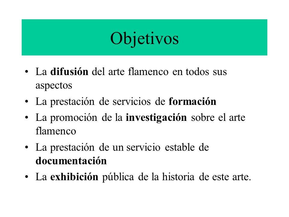 Objetivos La difusión del arte flamenco en todos sus aspectos La prestación de servicios de formación La promoción de la investigación sobre el arte f