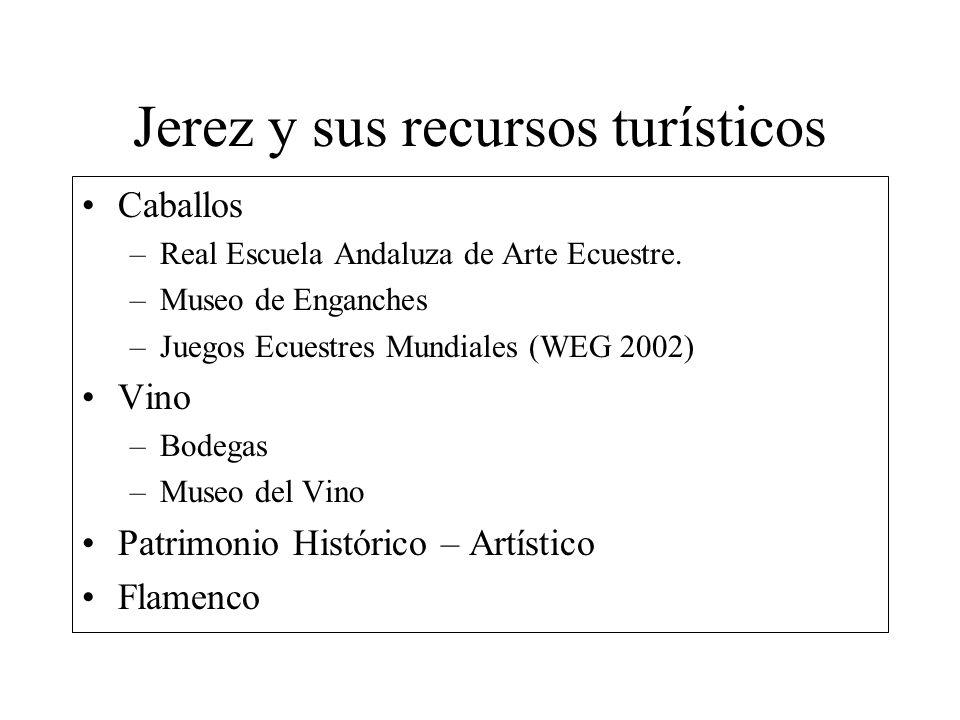 Jerez y sus recursos turísticos Caballos –Real Escuela Andaluza de Arte Ecuestre. –Museo de Enganches –Juegos Ecuestres Mundiales (WEG 2002) Vino –Bod
