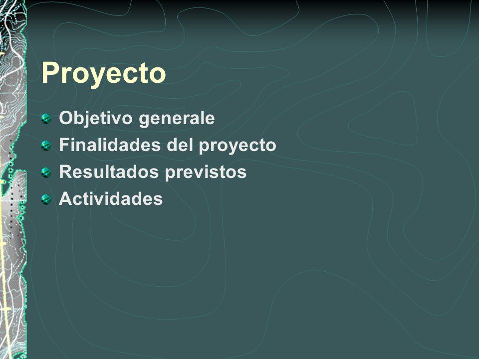 Proyecto Objetivo generale Finalidades del proyecto Resultados previstos Actividades
