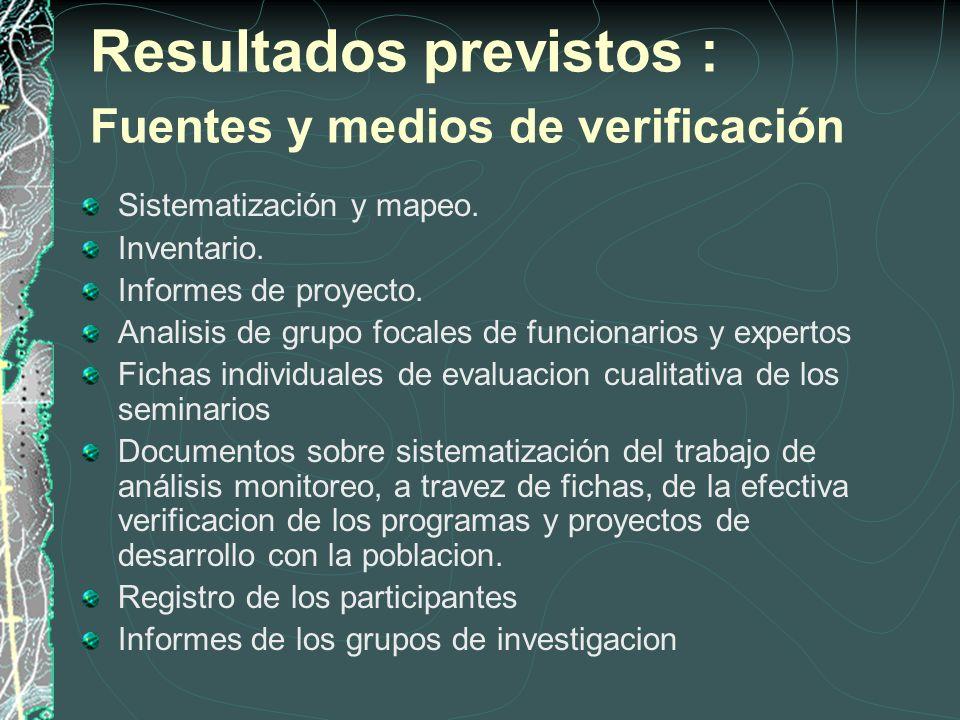 Resultados previstos : Fuentes y medios de verificación Sistematización y mapeo.