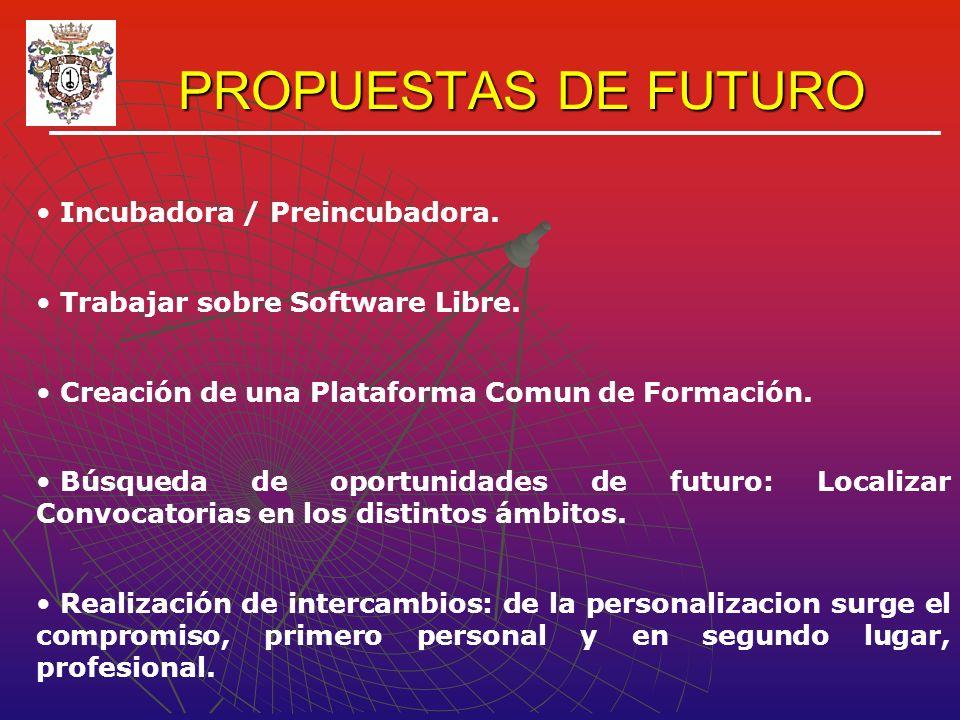 PROPUESTAS DE FUTURO Incubadora / Preincubadora. Trabajar sobre Software Libre.