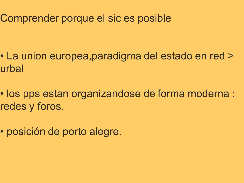 Comprender porque el sic es posible La union europea,paradigma del estado en red > urbal los pps estan organizandose de forma moderna : redes y foros.