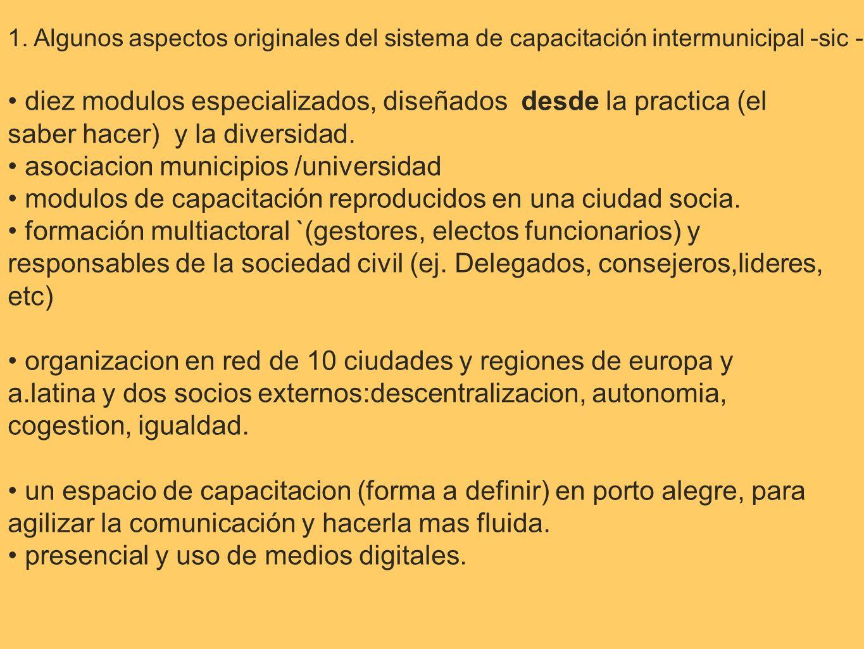 1. Algunos aspectos originales del sistema de capacitación intermunicipal -sic - diez modulos especializados, diseñados desde la practica (el saber ha