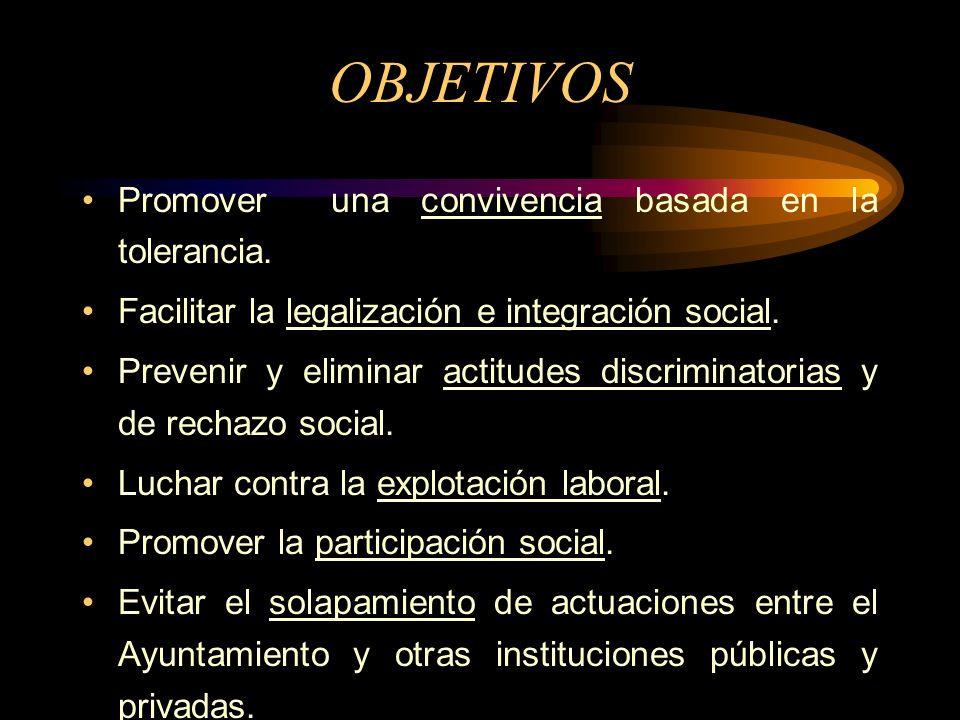 OBJETIVOS Promover una convivencia basada en la tolerancia. Facilitar la legalización e integración social. Prevenir y eliminar actitudes discriminato
