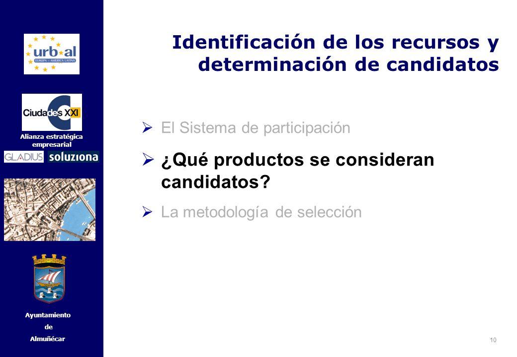 10 Alianza estratégica empresarial Ayuntamiento de Almuñécar Identificación de los recursos y determinación de candidatos El Sistema de participación