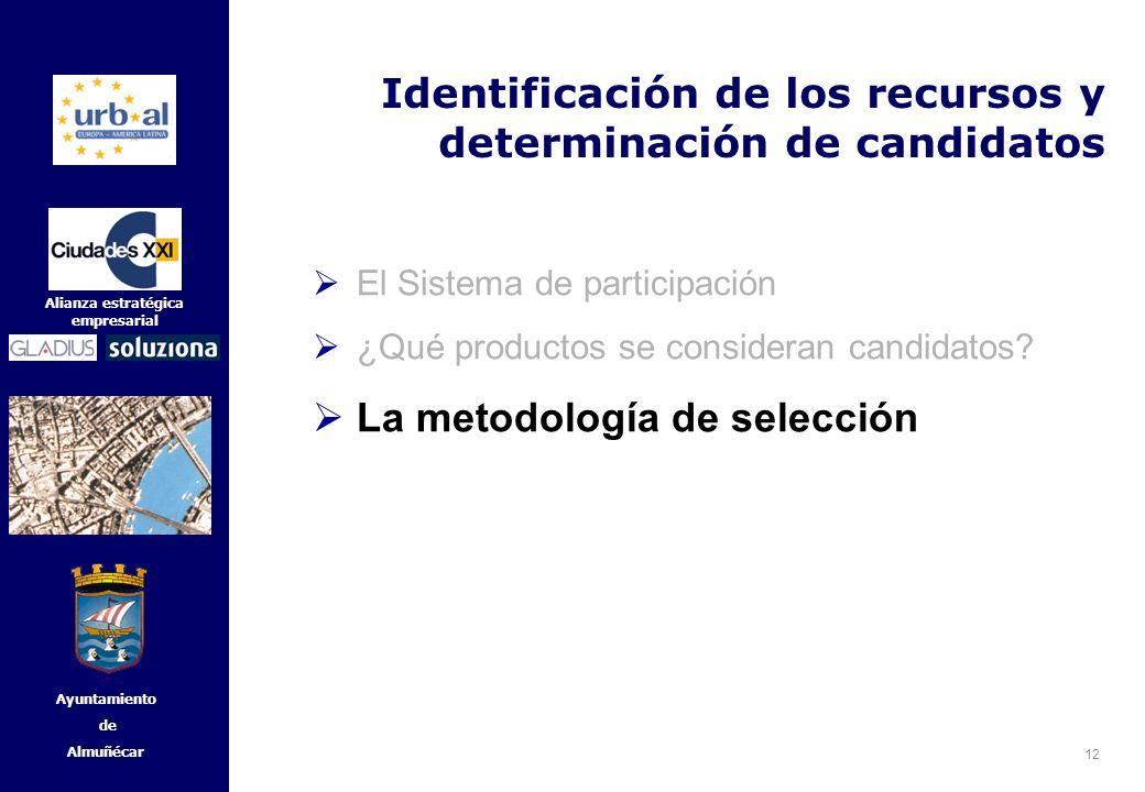 12 Alianza estratégica empresarial Ayuntamiento de Almuñécar Identificación de los recursos y determinación de candidatos El Sistema de participación