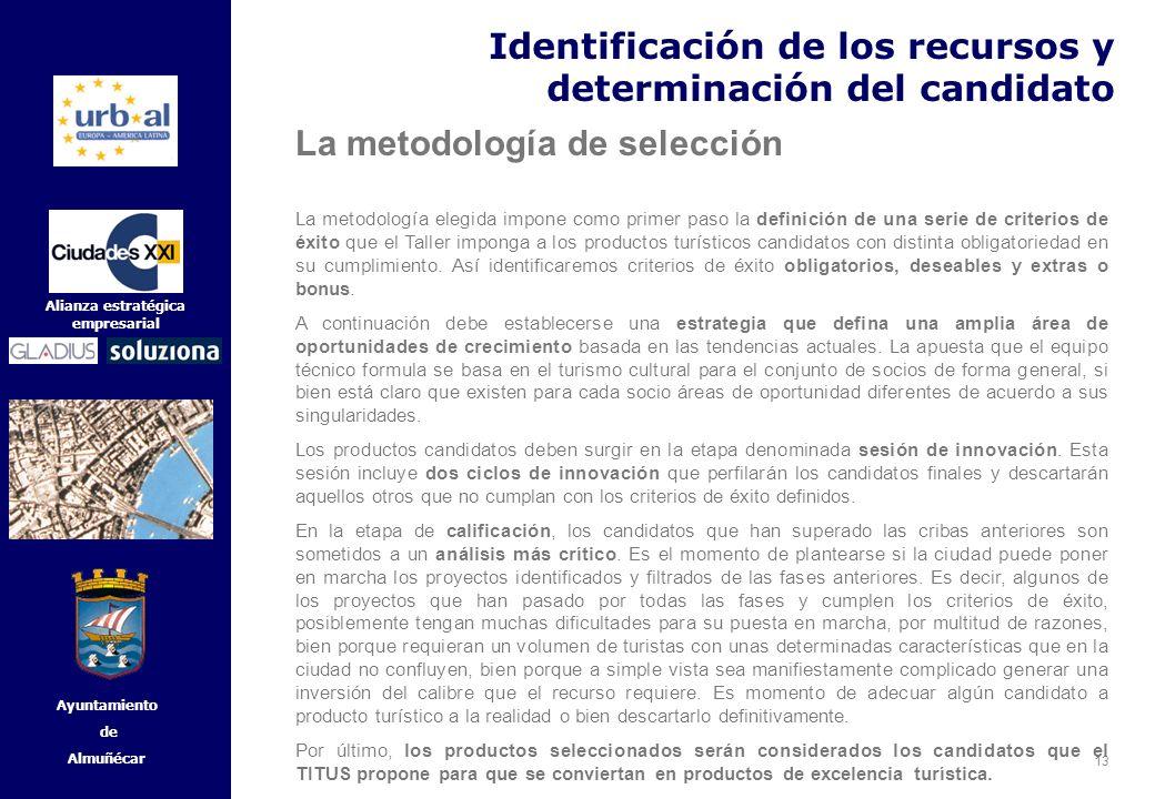 13 Alianza estratégica empresarial Ayuntamiento de Almuñécar Identificación de los recursos y determinación del candidato La metodología de selección