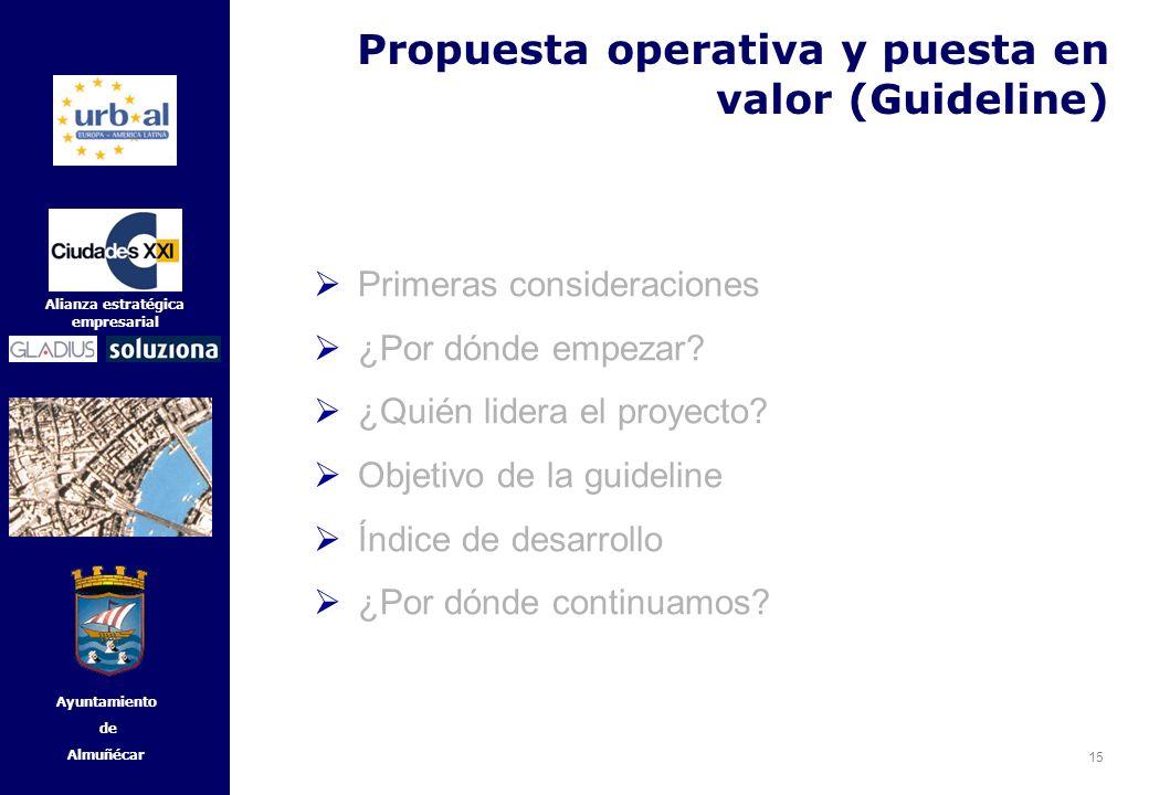 15 Alianza estratégica empresarial Ayuntamiento de Almuñécar Primeras consideraciones ¿Por dónde empezar? ¿Quién lidera el proyecto? Objetivo de la gu